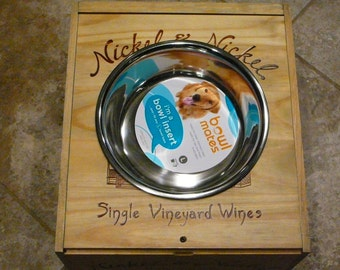 Wine Crate Dog-Cat Feeder/Nickle and Nickle Wine Crate/ Raised Dog-Cat Feeder/ Napa Valley Dog-Cat Feeder