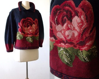 Vintage Red Rose Puffed Sleeve Navy Blue Cropped Sweater Top   CULLINANE  Sweater - Size: M