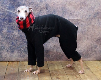 Italian Greyhound Black Jammies with Buffalo Check jersey lined Snood/Neck Warmer - measurements essential