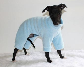 ONE Only - Ready to ship Italian Greyhound Puppy Jammies size XXS standard (see item details) in Baby Blue Fleece- for Puppies first walks