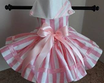 Dog Dress  pink with white stripes and roses