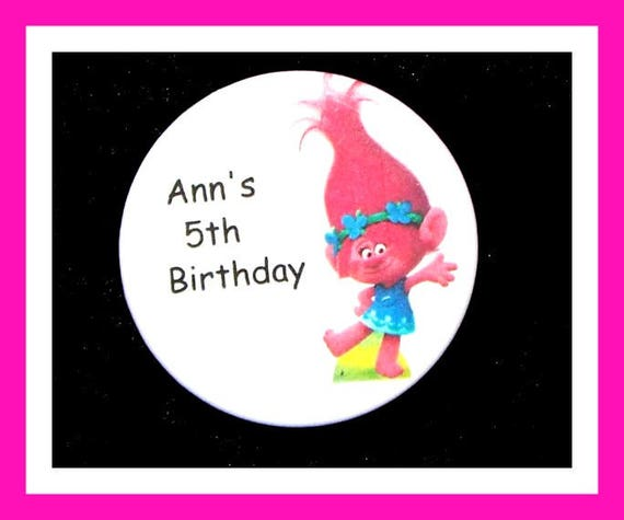 Birthday Party Favors, Personalized Button,Troll Pin Favor,School Favors,Kids Party Favor,Boy Birthday,Girl Birthday,Pins, Set of 10