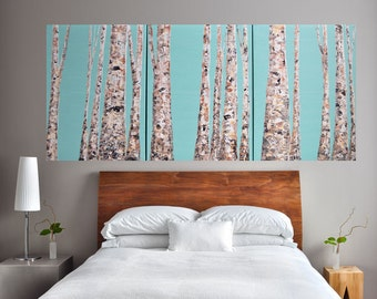 READY TO SHIP: 24x54 Modern Teal Mint Bare Aspen Tree Forest Multi Panel Winter