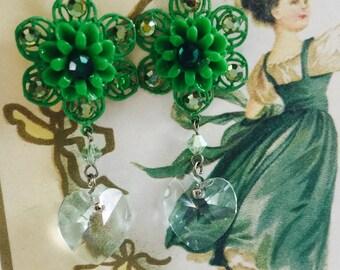 EMERALD Flowers and Austrian CRYSTAL Rhinestone EARRINGS - Crystal Heart Drops