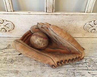 Vintage Leather Baseball and Glove - Spalding - Rustic Decor - Game Room, Man Cave Decor