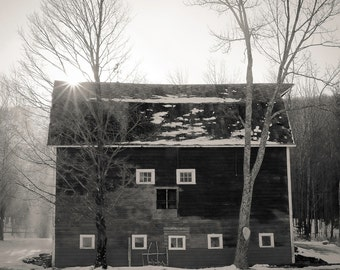 Soybel's barn, 8x10 black & white fine art photograph, nature