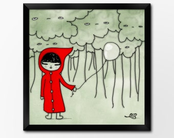 Nursery Art Printable, Red Riding Hood, 10x10inch Instant Download Illustration by Sleepy Cloud Studios