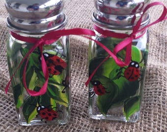 Ladybug salt and pepper shakers, hand paintedlady bugs salt and pepper shakers, wedding gift, kitchen gift, housewarming gift