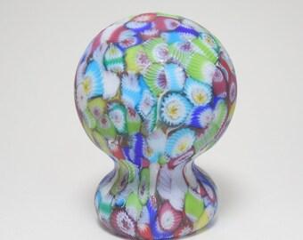Vintage Murano Millefiori Piedouche Pedestal Art Glass Paperweight, Murano Close Pack Millefiori Art Glass Paperweight, Murano Paperweight