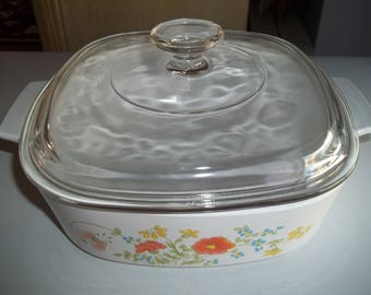 Spring Bouquet AKA Wildflowers, Corning Ware A-2-B, 2 Quart Casserole Dish with glass lid