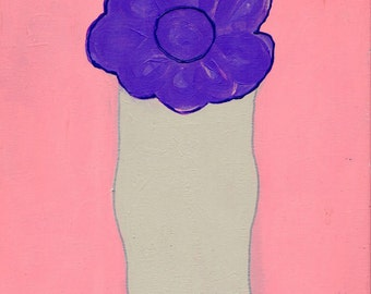 Purple Flower With Gray Vase Art Painting