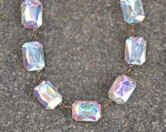 NEW Large Crystal AB Rhinestone Jewel Tennis Necklace,Large Octagon Anna Wintour Style,Statement,Crystal Choker,Statement,Bridal,Wedding