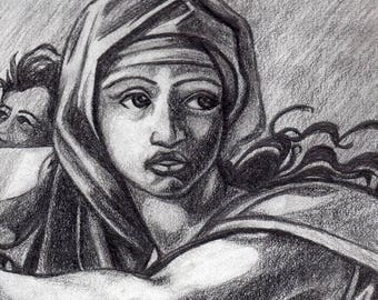 Pencil drawing, framed print of Michaelangelo's Sybil of Delphy