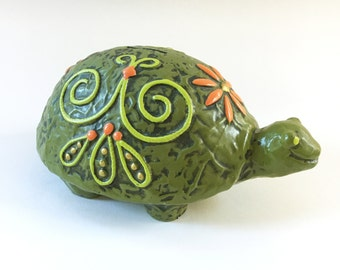 70s Turtle Bank Painted Ceramic Kitsch Knick Knack Decor
