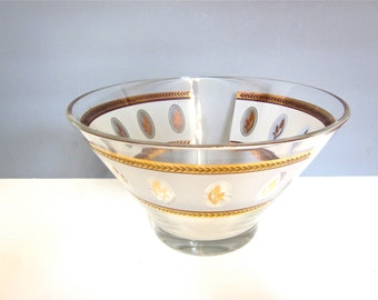 Vintage Libby glass bowl with metallic gold, mid century bowl. wheat design