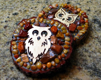Rustic owl magnets mosaic owl strong magnets rustic wood rounds refrigerator decoration set of 2 stocking stuffer