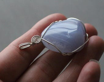 Blue Lace Agate Sterling Silver Pendant #7604