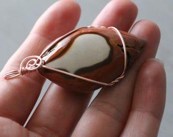 Polychrome Jasper Rose Gold Wire Wrap Pendant #7653