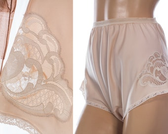 Adorable 'Valpercy' 70's vintage silky deliciously soft glossy vanilla polyester and delicate floral lace detail wide leg tap panties - 3850