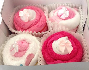 Baby Girl Washcloth Cupcakes Baby Shower Gift, Welcome Baby Gift