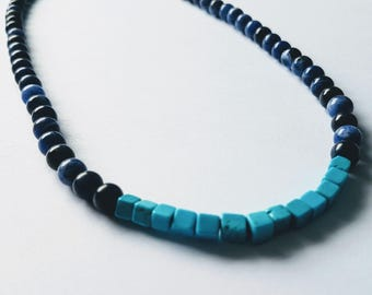 Mens sodalite and blue magnesite gemstone choker style necklace 18""