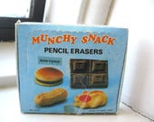 1980s Made in Hong Kong Munchy Snack Erasers NEW in Box!