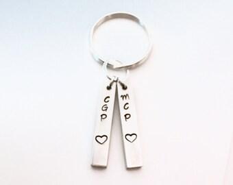 Key Chain, Custom Key Chain, Anniversary Hand-stamped key chain, personalized key chain