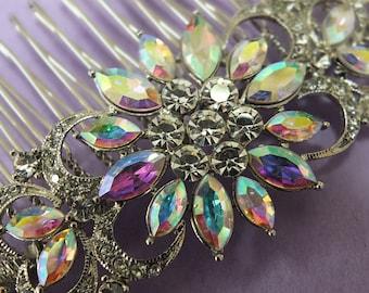Wedding dress jewelry hair comb wedding accessories aroura borealis