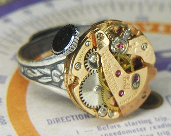 Women's STEAMPUNK Ring Jewelry - Torch SOLDERED - Rose Gold Circular BENRUS Watch Movement w Original Crown & Ruby Jewels - Fantastic Colors