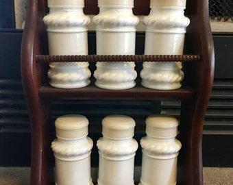 Vintage Wooden Spice Rack and 6 Milk Glass Jars