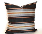 Black Pillow Cover Throw Pillow Cover Black Rust Stripe Upholstery Fabric Decorative Pillow Euro Sham 26x26 24x24 22x22 20x20 18x18 16x16