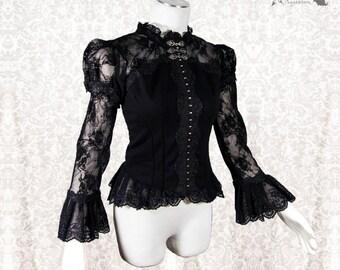 Blouse Victorian, romantic goth, Steampunk, black, romantic shirt, Maeror, Somnia Romantica, size medium see item details for measurements