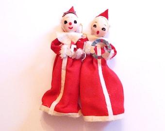 Vintage Elves - Elf Pair - Caroling Elves - Red Felt Ornament - Mid Century Elf