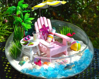 """Beach Terrarium Kit ~ Beach Umbrella and Beach Chair ~ 3 Artificial plants and Palm Tree~ 10"""" Glass Round Bowl ~ Drink Option ~ Beach Decor"""