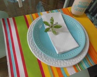 Colorful Striped Placemats - Customize Your Own Pillowscape Reversible Placemats - You Select The Fabrics To Coordinate With Your Home Decor