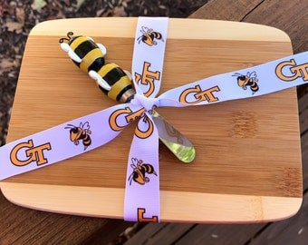 Unique Georgia Tech Yellow Jackets inspired mini bamboo cheese board cutting board serving tray