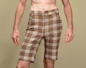 vintage 70s shorts plaid shorts knee length Farah shorts slim slimfit tight fitted small M medium 1970 plaid golf shorts 33 waist