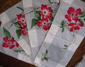 Vintage 1950's Napkins Set of 4 Vintage Linens