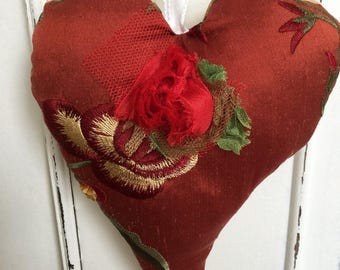 Silk Heart, Red and Gold