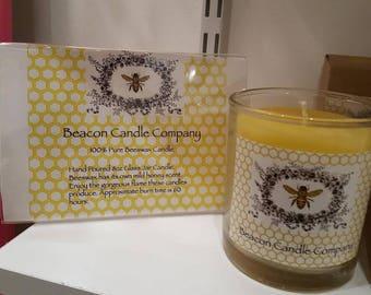 8oz Glass Jar Candle - 100% Beeswax