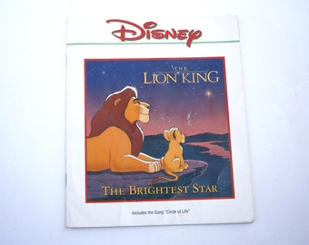 Vintage Lion King Picture Book Disney Classic Children Story Simba Mufasa African Animal Read Graphic Illustration Education Boy Girl Print