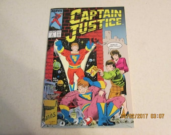 Vintage Comic Book, Captain Justice, Marvel Comic Book 1988, Books, Comic Book Collector, Number 2 Marvel Comic Book