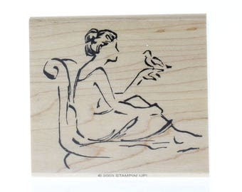 Stampin UP Woman with a Bird Sketch Wooden Rubber Stamp