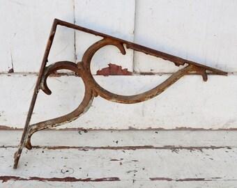 Vintage Cast Iron Shelf Bracket Scroll Design White Chippy Paint Shabby Rusty Patina Metal Shelf Support Salvage Upcycle Repurpose