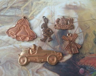 Vintage Old Brass Novelty Pendants Awesome Road Racer Crest Alice in Wonderland Rabbit Windmill