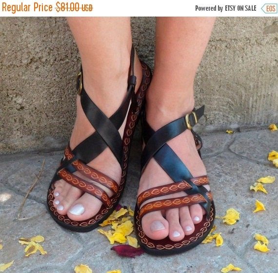 XMAS SALE Cute Black And Brown Custom Handmade Leather Sandals - Inspiration