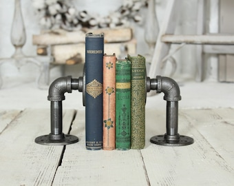 Industrial Pipe Bookends Industrial Shelf Brackets Farmhouse Decor