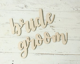 Bride and Groom Chair Sign Wedding Chair Signs