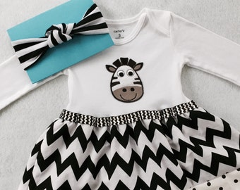 Zebra Bodysuit or Tee Shirt Dress w/ turban headband/ Zebra Dress