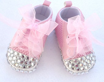 Baby Girl Pink Sneakers with Bling / Sneakers with Bling/ sale